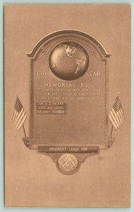 Dwight IL~Frankfort Crafts Co~Gold Star Memorial Roll~Globe~Masonic Lodge~1940s