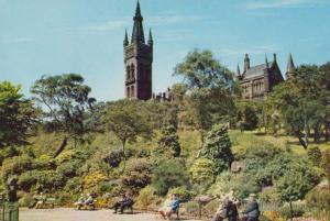 Elderly People Park Bench at Glasgow University From Kelvingrove Park Postcard