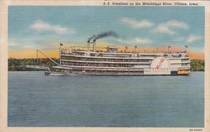 Iowa Clinton S S President On The Mississippi River Curteich