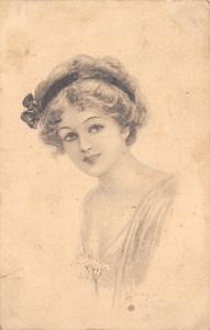 Archie Gunn~Pretty Lady Portrait~Hair in Headband~Sepia Portrait~1915 Postcard