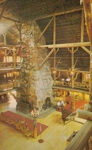 YELLOWSTONE National Park , 1950-60s ; Old Faithful Inn , Fireplace