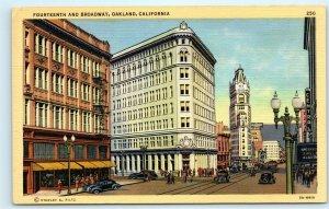 Oakland CA 14th and Broadway Walgreens Vintage Linen Postcard E33