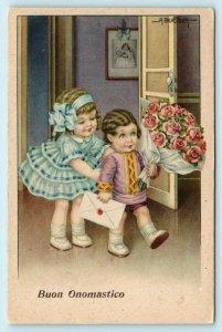 BERTIGLIA Artist Signed BUON ONOMASTICO Happy Name Day Children  Postcard