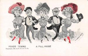 Greetings Poker Terms A Full House Comic Artist Signed Antique Postcard J75502