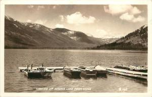 1930-50 Real Photo Postcard Boat Dock Alturas Lake from Lodge Blaine Co ID