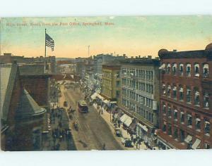 D-back SHOPS ALONG STREET AND POST OFFICE Springfield Massachusetts MA hs1843
