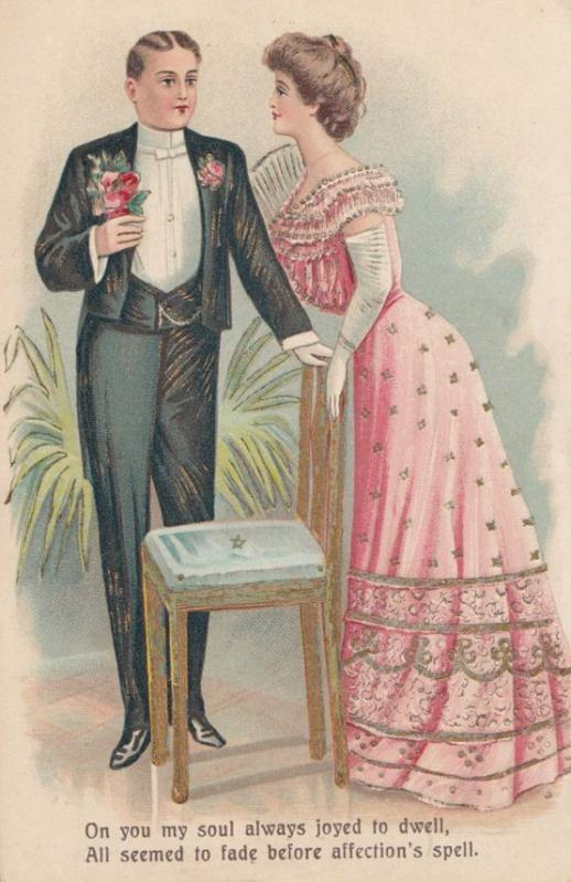 Love Affection Magic Spell Shiny Gold Chair Antique Romance Postcard