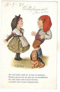 jJ. Ibañez. Caricature. Catalan couple. Romance with dog  Vintage Spanish PC