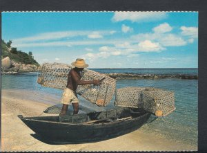Seychelles Postcard - Fisherman, His Pirogue and Casiers  RR6584