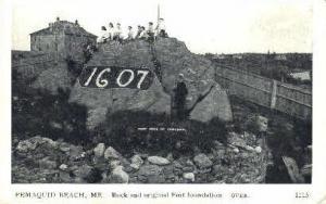 Rock & Original Fort Foundation Pemaquid Beach ME Unused