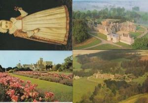 Rockingham Castle Northamptonshire 3 Aerial + Medieval Girl Fashion 4x Postcard