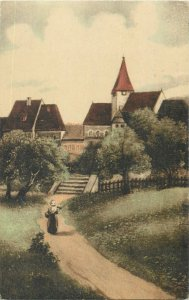 Postcard romantic love woman with basket flowers village tower church drawing