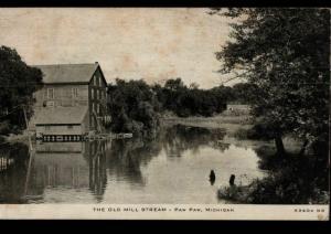 Paw Paw Michigan Detroit Old Mill Stream C. R. Childs Photo Study Postcard B05