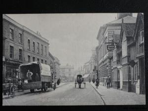 HITCHEN High Street showing Cock Hotel & C. McDonnell ? Delivery Van c1907