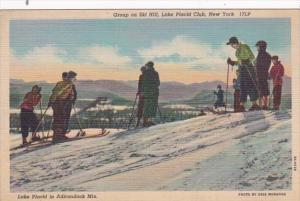 New York Lake Placid Group Of Skiers On Ski Hill Lake Placid Club Curteich