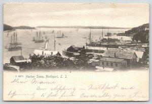 Northport Long Island NY~Harbor Scene~Wharves~Sailboats~Schooners~1905 Rotograph
