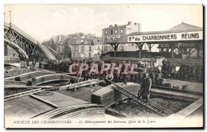 Postcard Old Mine Mining Company Charbonniers The landing boats Quai de la Lo...
