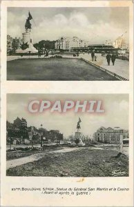Postcard Modern 23b Boulogne s statue of General San Martin sea and the casin...