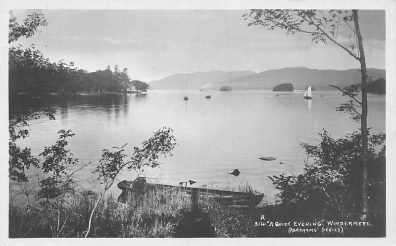 Windermere A Quiet Evening Boats (Abrahams' Series) 1913
