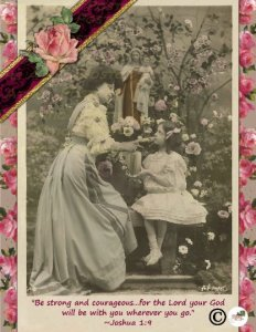 Single Postcard (1), Bible Verse, Joshua 1:9 French Lady and Daughter in Garden
