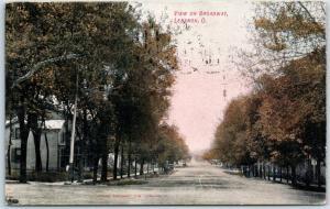 Lebanon, Ohio Postcard View on Broadway Residential Street Scene 1908 Cancel