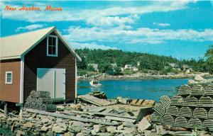 New Harbor, Maine, ME, View of Quaint Back Cove, Chrome Vintage Postcard a4709