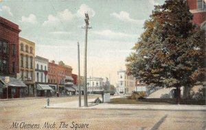 The Square MT. CLEMENS Michigan Street Scene c1910s Vintage Postcard