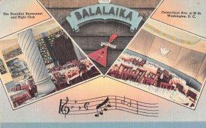 Washington DC Balalakia Restaurant and Night Club Vintage Postcard AA23346