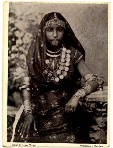 East Indian Type - Woman in ethnic garb.   (card trimmed)