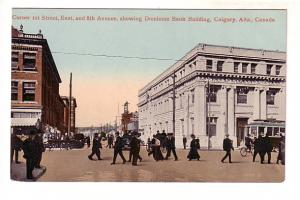 People at Corner of 1st and 8th, Dominion Bank, Trolley, Bicycle, Calgary, Al...