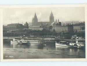old rppc SHIP BOATS THAT DOCKS Mainz - Rhineland-Palatinate Germany HM1783