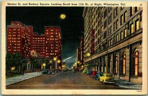 Wilmington, Delaware Postcard RODNEY SQUARE Night Street View Linen 1953 Cancel