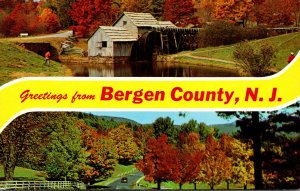 New Jersey Bergen County Greetings With Old Water Mill and Autumn Colors