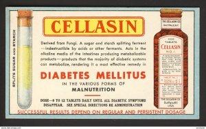 Cellasin Co. Buffalo NY USA - Diabetes Mellitus - Cellasin bottle pills BLOTTER