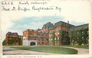 Poughkeepsie~Curved Drive to Ivy-Panted Vassar College Bldgs~1905 Postcard