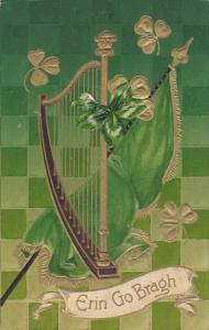 Saint Patrick's Day Gold Harp With Flag and Shamrocks 1913