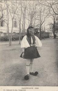 Greece Salonique 1916 ethnic man in folk costume euzon uniform