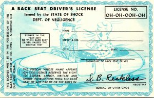 Humour Back Seat Driver's License