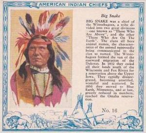 Red Man Chewing Tobacco American Indian Chiefs No 16 Big Snake Winnebagoe Tribe