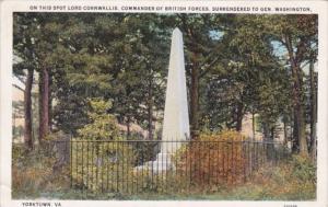 Virginia Yorktown Spot Where Lord Cornwallis Surrendered To General Washingto...