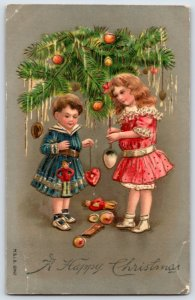 1900's Christmas GreetingsPost Card  Victorian Girls Under Tree