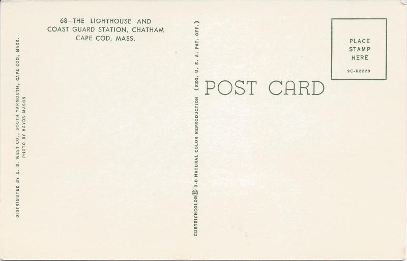 Chatham Light House, Cape Cod, Massachusetts, postcard, unused