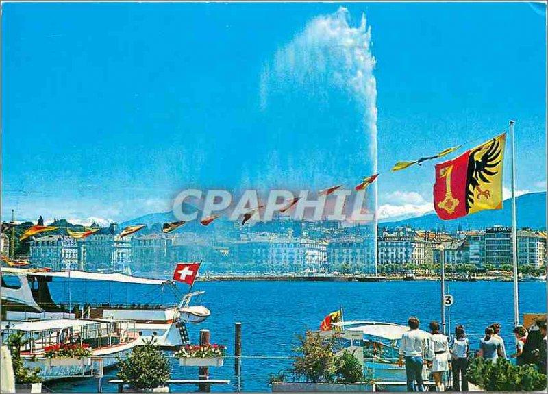 Modern Postcard The water jet Geneva and Mont Blanc