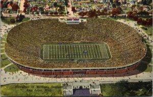 Linen Postcard University of Michigan Stadium in Ann Arbor, Michigan~132626