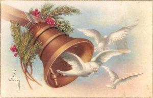 C,Vives. Bell. Flying birds Nice Spanish vintage artwpork postcard