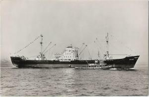 New York Harbor Mellum on maiden Voyage Ship Nautica Real Photo Postcard 01.21