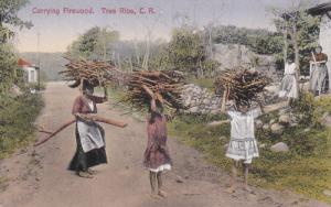 Native girls carrying Firewood , TRES RIOS , Costa Rica , 00-10s