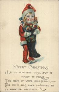 Christmas - Child Dressed Up Like Santa Claus w/ Stocking c1915 Postcard