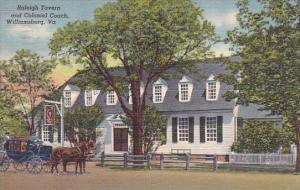 Virginia Williamsburg Raleigh Tavern And Colonial Coach 1949