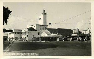 indonesia, JAVA SOERABAIA, Pasar Besar, Cinema (1940s) RPPC Postcard